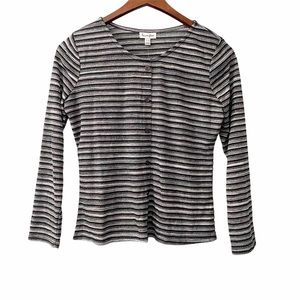 NWT love, Fire Striped Button Up Crew Neck Top XL
